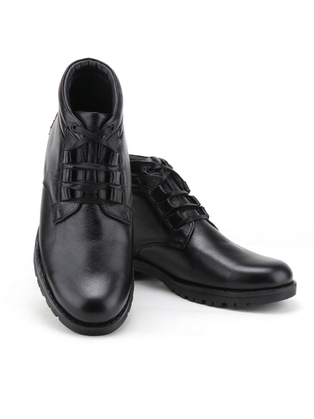Black Leather Boot SHOES24-Black-9-3