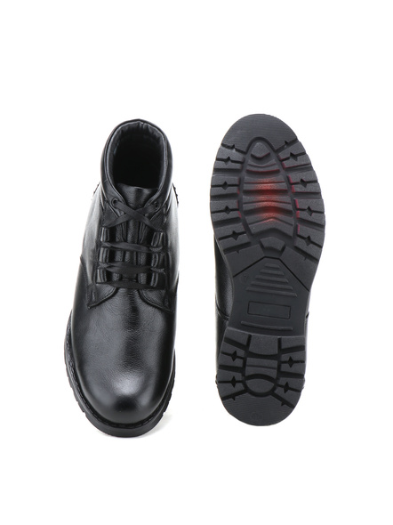 Black Leather Boot SHOES24-Black-9-4