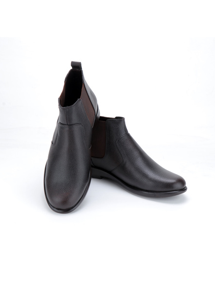 Black Leather Boot SHOES24-Black-11-3