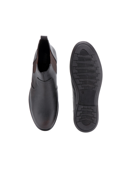 Black Leather Boot SHOES24-Black-11-4