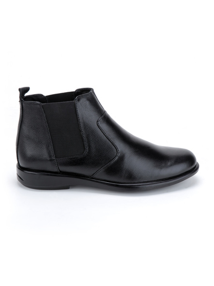 Black Leather Boot SHOES24-Black-11-5