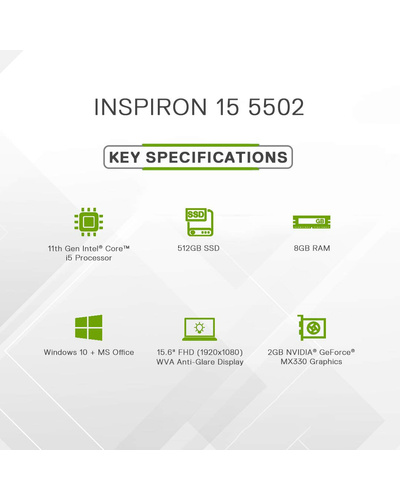 Dell Inspiron 5502 15.6 Inch FHD 11th gen Laptop (i5-1135G7 / 8GB / 512 SSD / MX330 2GB Card Nvidia Graphics Card/ Win 10 + MS Office H&S / Silver)-5