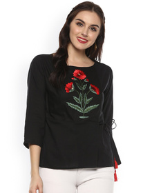 Bhama Couture Women Black Solid Top