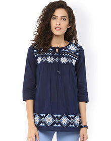Bhama Couture Navy Embroidered Top