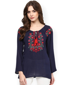 Bhama Couture Women Navy Blue Embroidered Semi-Sheer Top