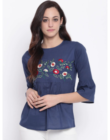 Bhama Couture Women Blue Solid A-Line Top