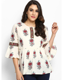 Bhama Couture Women Off-White Printed A-Line Top