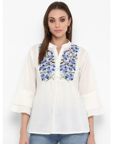 Bhama Couture Women White Printed Top