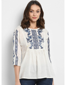 Bhama Couture Women White Embellished A-Line Top