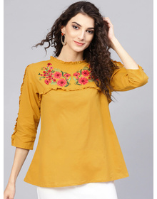 Bhama Couture Women Mustard Yellow Solid A-Line Top