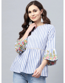 Bhama Couture Women Blue & White Striped A-Line Top
