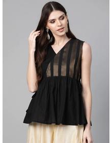 Bhama Couture Women Black & Golden Self Design Wrap Top
