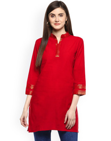 Bhama Couture Red Handloom Mangalgiri Solid Tunic