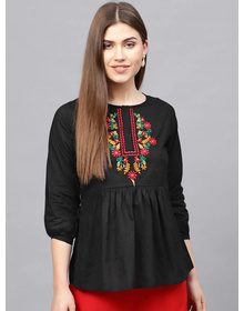 Bhama Couture Black Tunic with Embroidered Detail