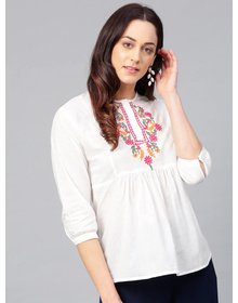 Bhama Couture White Tunic with Embroidered Detail