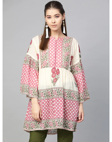 Bhama Couture Women Beige & Pink Printed Tunic