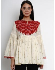 Bhama Couture Women Cream-Coloured & Red Printed Peplum Top