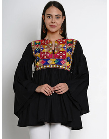 Bhama Couture Black Embroidered Tunics