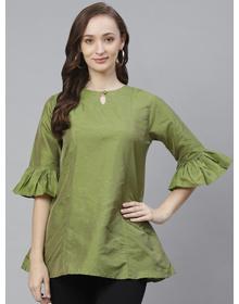 Bhama Couture Women Green & Golden Self Design Tunic