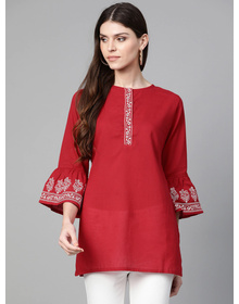 Bhama Couture Straight Maroon Bell Sleeved Tunic