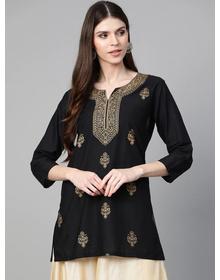 Bhama Couture Women Black & Golden Foil Print Tunic