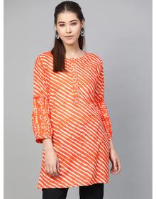Bhama Couture Women Orange & White Striped Tunic