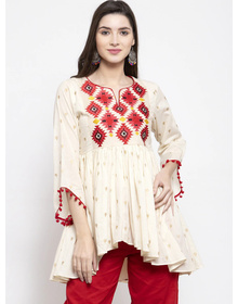 Bhama Couture Women Off-White & Red Printed Tunic