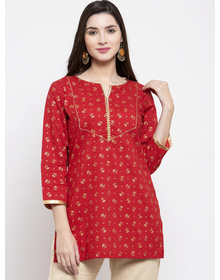 Bhama Couture Women Red & Golden Foil Print Tunic