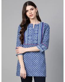 Bhama Couture Blue & White Printed Tunic