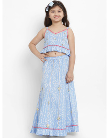 Bitiya by Bhama Blue & White Ready to Wear Lehenga with Blouse