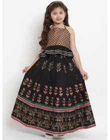 Bitiya by Bhama Black & Gold-Coloured Block Printed Ready to Wear Lehenga with Blouse