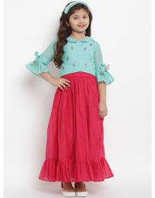 Bitiya by Bhama Turquoise Blue & Pink Ready to Wear Lehenga with Blouse