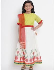 Bitiya by Bhama Girls Off-White & Lime Green Woven Design Ready to Wear Lehenga & Blouse with Dupatta