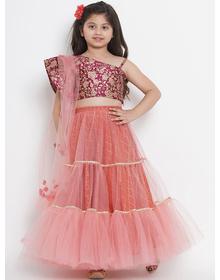 Bitiya by Bhama Girls Peach-Coloured & Burgundy Printed Ready to Wear Lehenga & Blouse with Dupatta