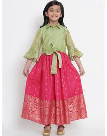 Bitiya by Bhama Fuchsia Pink & Green Ready to Wear Lehenga with Blouse