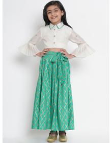 Bitiya by Bhama Green & Off-White Ready to Wear Lehenga with Blouse