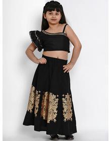 Bitiya by Bhama Black Printed Ready to Wear Lehenga with Blouse