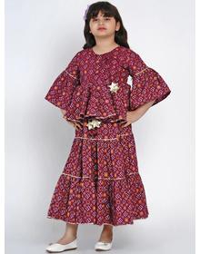 Bitiya by Bhama Pink & Yellow Printed Ready to Wear Lehenga with Blouse