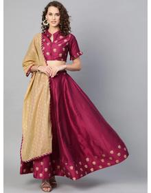 Bhama Couture Magenta & Beige Solid Lehanga Choli With Dupatta