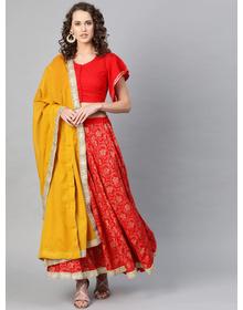 Bhama Couture Red & Yellow Foil Print Lehenga Choli With Dupatta