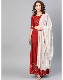 Bhama Couture Maroon Solid Lehanga Choli With Dupatta