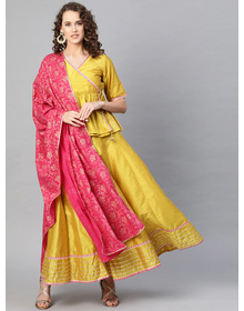 Bhama Couture Mustard Yellow & Pink Solid Lehanga Choli With Dupatta