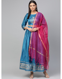 Bhama Couture Blue & Pink Khari Print Ready to Wear Lehenga Choli with Dupatta