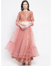 Bhama Couture Peach-Coloured Ready to Wear Lehenga & Blouse with Dupatta