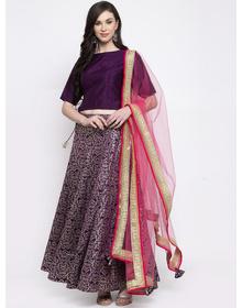 Bhama Couture Purple Ready to Wear Lehenga & Blouse with Dupatta