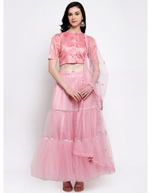 Bhama Couture Pink Ready to Wear Lehenga & Blouse with Dupatta