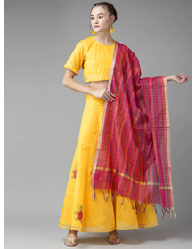 Bhama Couture Yellow & Pink Ready to Wear Embroidered Lehenga Choli with Dupatta