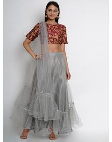 Bhama Couture Purple & Grey Printed Ready to Wear Lehenga & Blouse with Dupatta