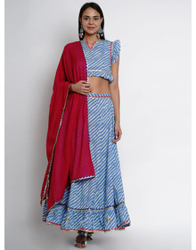 Bhama Couture Blue & Red Printed Ready to Wear Lehenga & Blouse with Dupatta