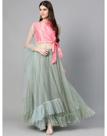 Bhama Couture Sea Green & Pink Printed Ready to Wear Lehenga & Solid Blouse with Dupatta